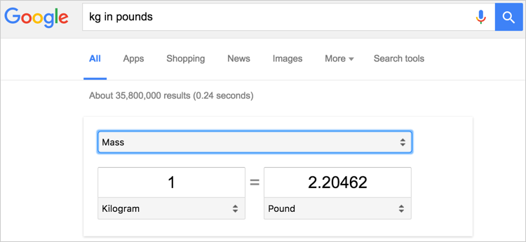 Converting Units in Google Search