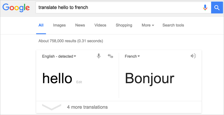Finding Translation in Google Search