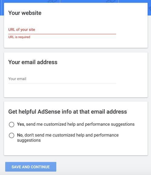 Signup for Google AdSense