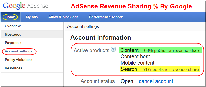 AdSense Revenue Sharing Details