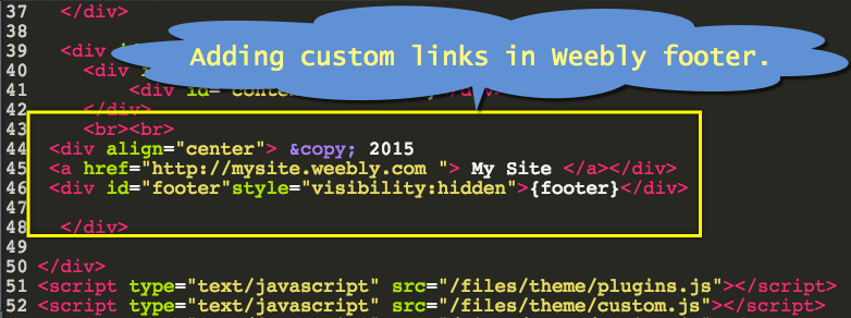 Adding Custom Links in Weebly Footer