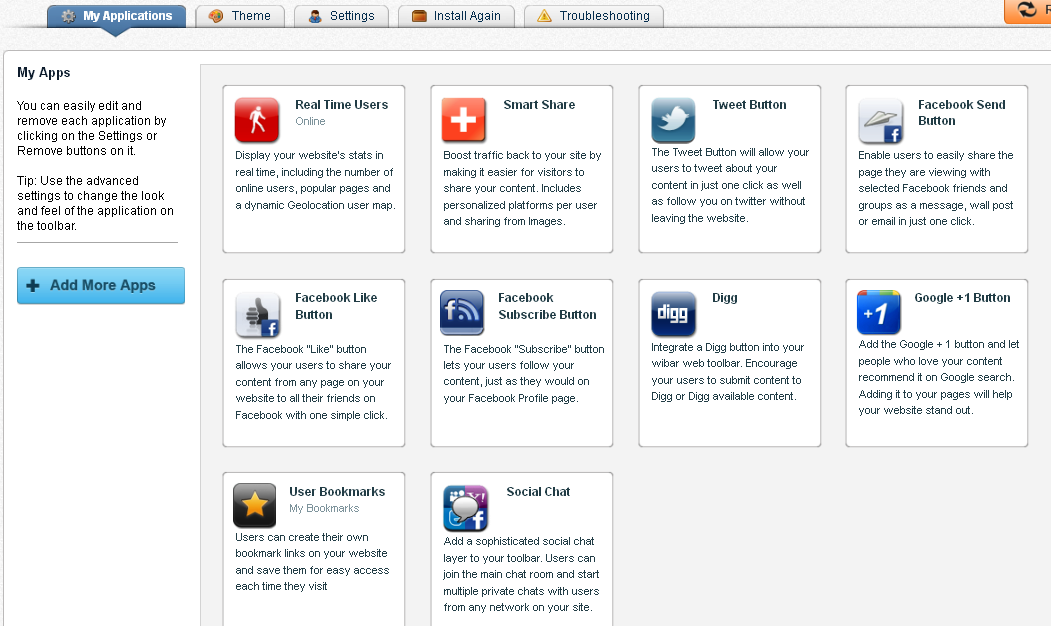 Customize Wibiya Web Toolbar Apps