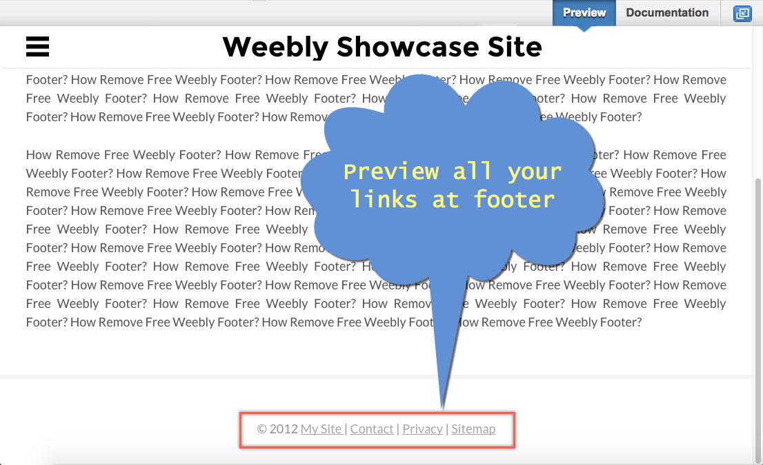 Custom Footer Preview in Weebly