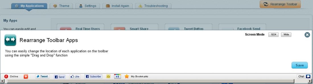 Rearrange Apps in Wibiya Toolbar