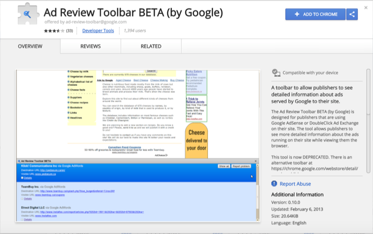 Ad Review Toolbar