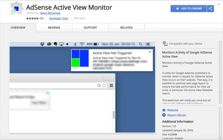 Монитор AdSense Active View