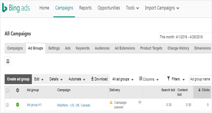 Bing Ads Ad Groups View