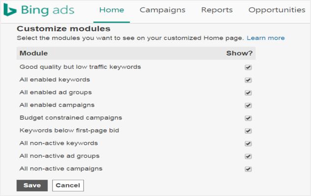 Bing Ads Dashboard Modules on Home Screen
