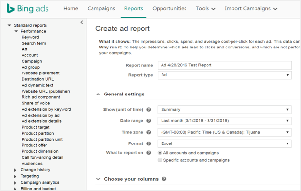 Bing Ads Reports