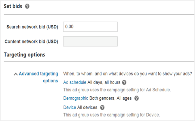 Changing Bid and Targeting Option for Ad Groups