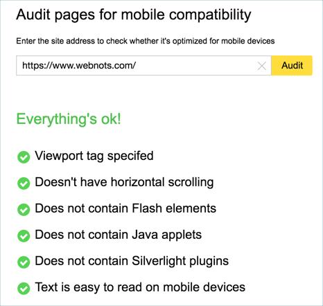 Check Mobile Friendliness of Site in Yandex