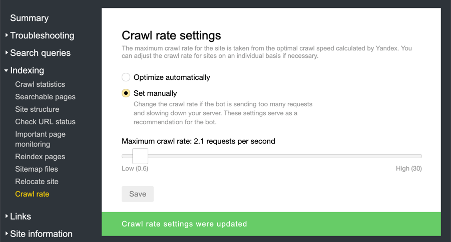 Crawl Rate Settings in Yandex