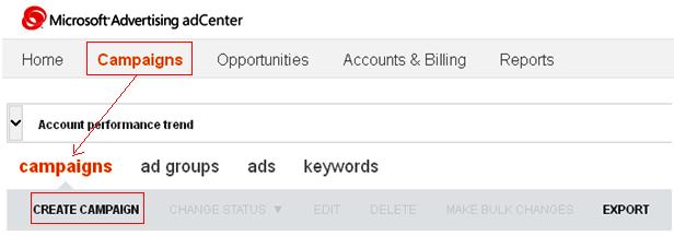 Create Microsoft adCenter Campaign