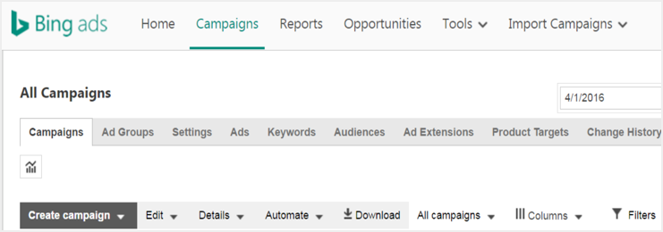 Creating Campaign Bing Ads