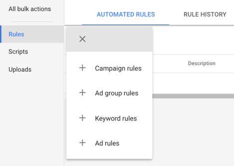 Creating Rules in AdWords