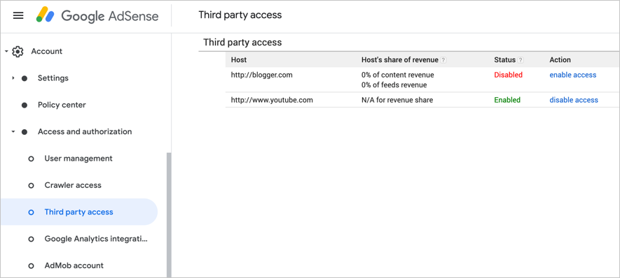 Enable or Disable Third Party Access in AdSense
