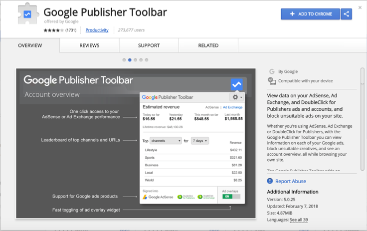 Google Publisher Toolbar Extension