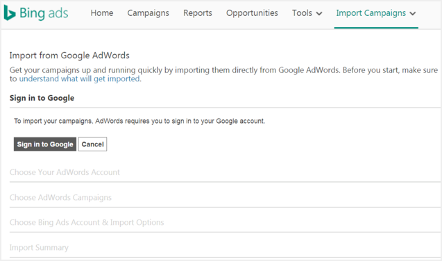 Import Campaigns from Google AdWords to Bing Ads