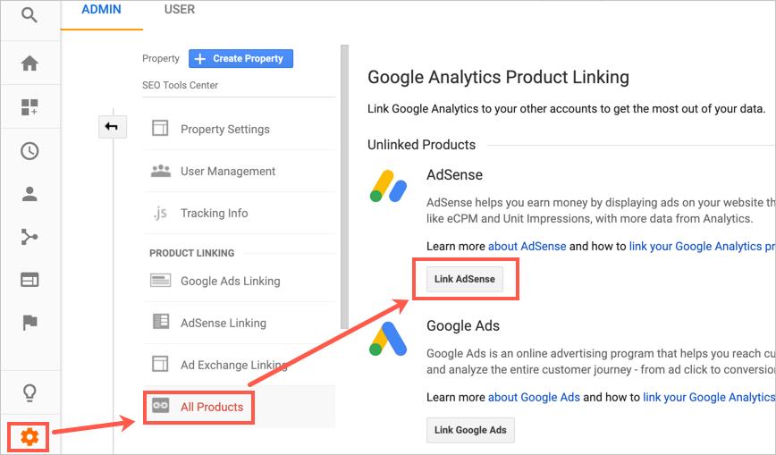 Link AdSense in Analytics