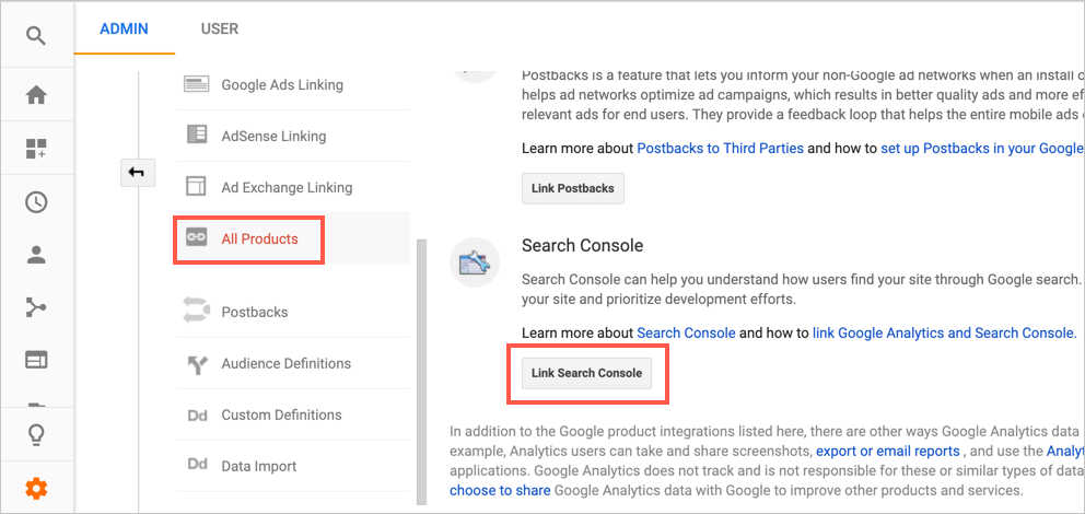 Link Search Console