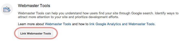 Link Webmaster Tools Account