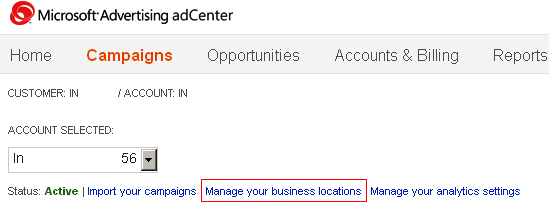 Microsoft adCenter Business Location Settings