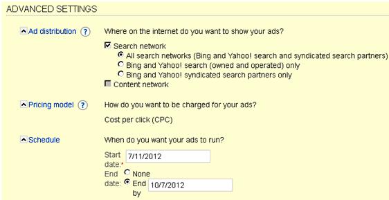 Microsoft adCenter ad groups advanced settings