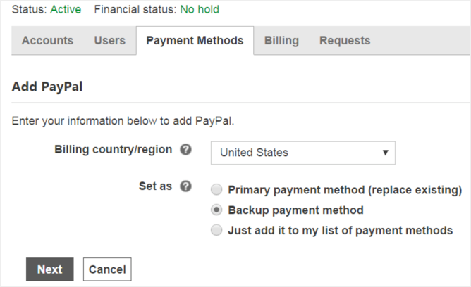 PayPal Payment Method addition in Bing Ads