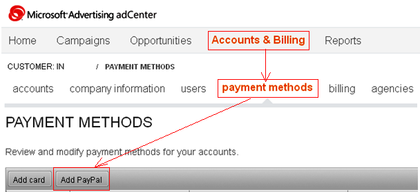 PayPal Payment Method addition in Microsoft adCenter