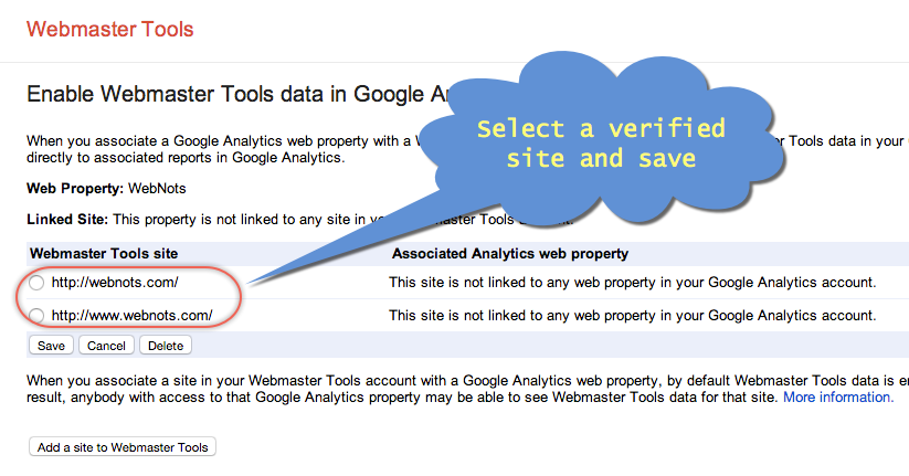 Select a Verified Site and Save