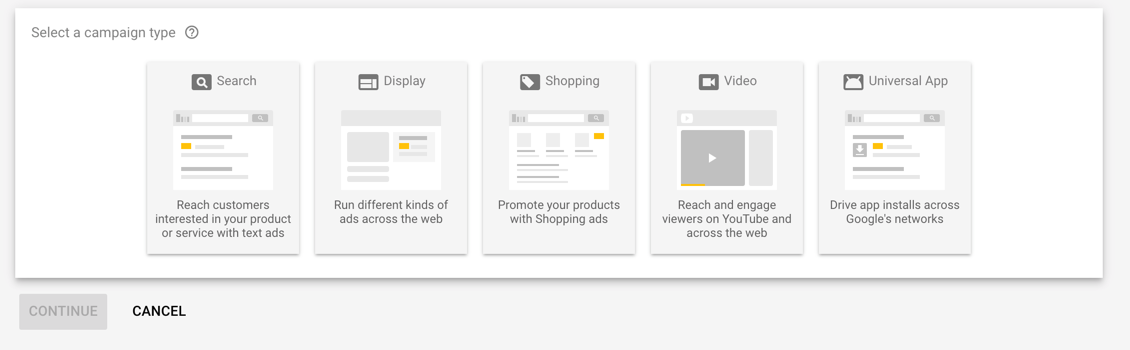 Selecting Campaign Type in AdWords