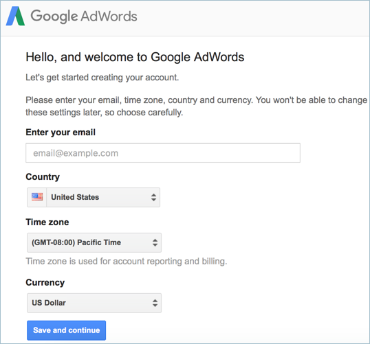 Setup Country and Currency Setting in AdWords