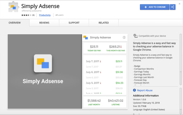Simply AdSense Chrome Extension