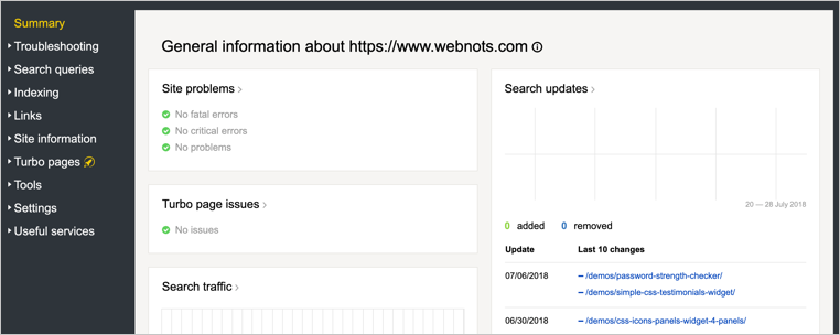 Summary Section of Yandex Webmaster Tools