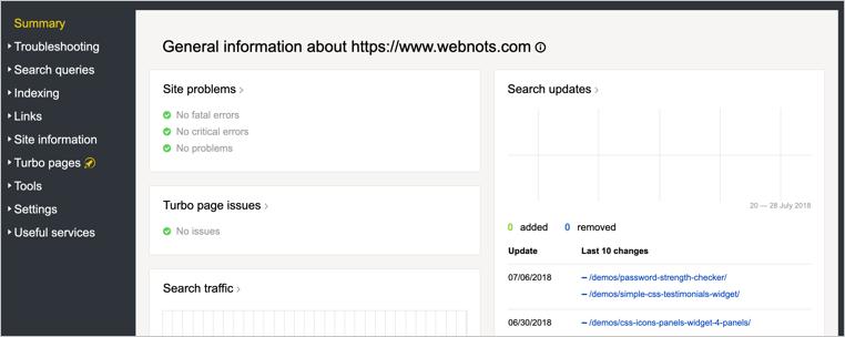Summary Section of Yandex Webmaster Tools