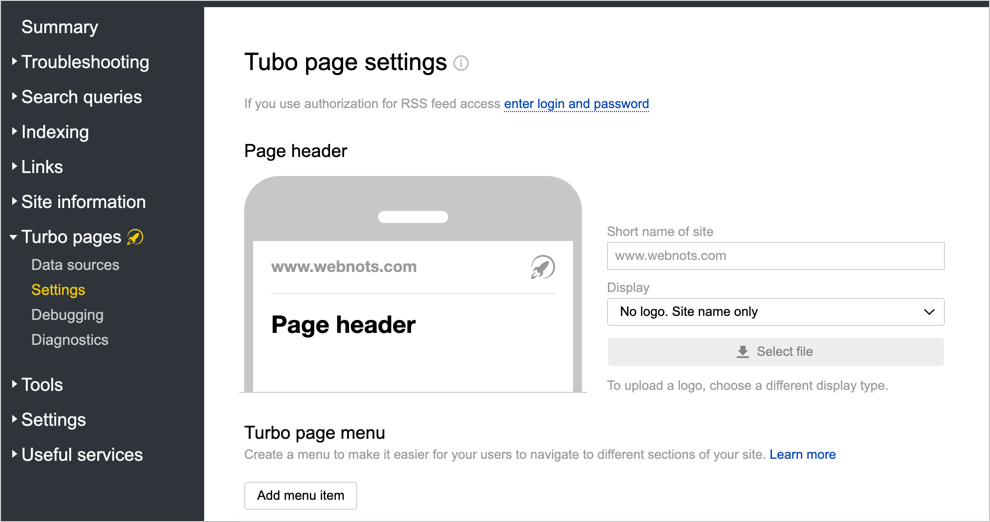 Turbo Page Settings in Yandex