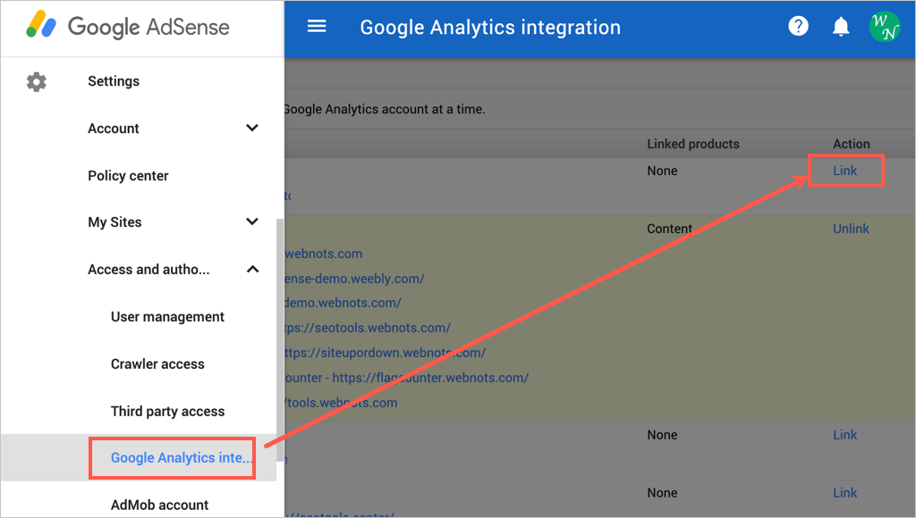 View Analytics integration in AdSense Account