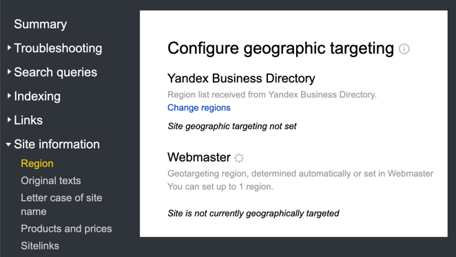 Yandex Geographical Targeting