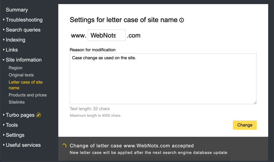 Yandex Letter Case Option