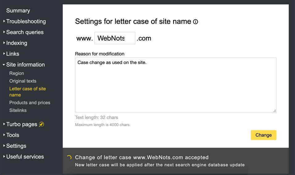 Yandex Letter Case Option