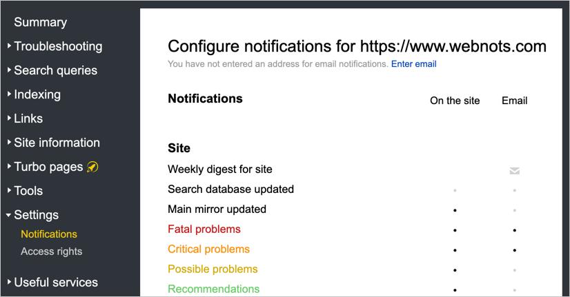 Yandex Notifications Settings
