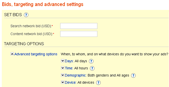 adCenter Bid and Targeting Settings