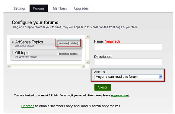 Configure Forum in Weebly