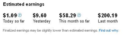 Estimated AdSense Earnings Page