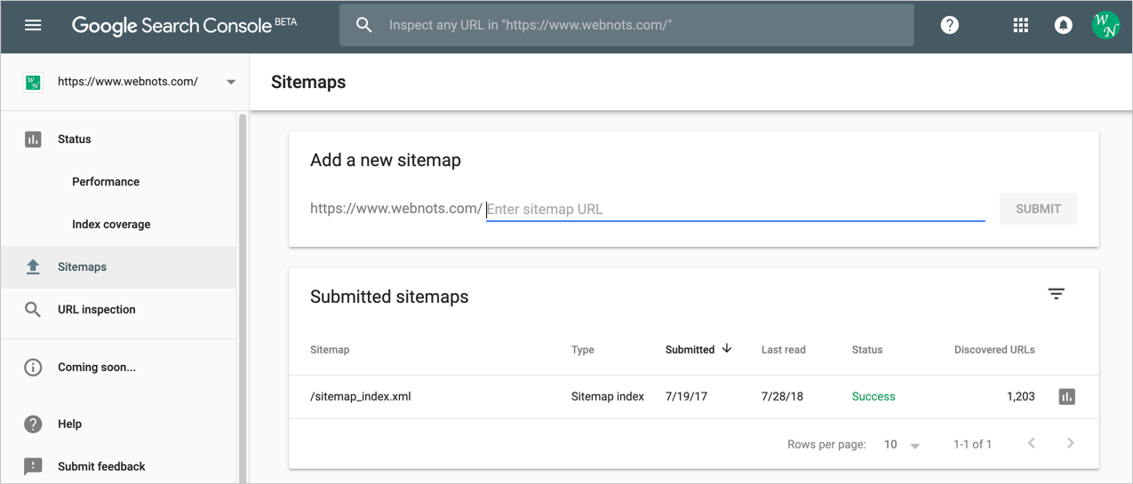Sitemap Submission in New Google Search Console