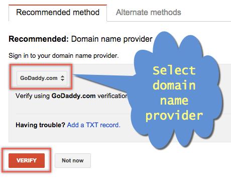 Verify GoDaddy Domain in Google Webmaster Tools
