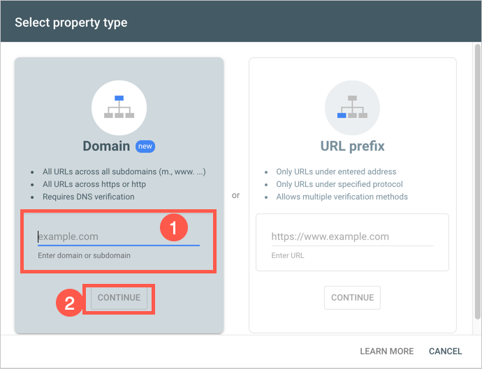Add Domain in Search Console