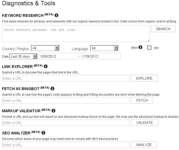 Bing Webmaster Diagnostics Tools