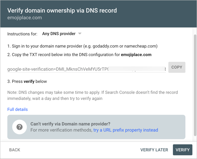DNS Verification Code