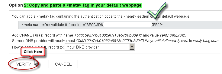 Verify Site With Meta Tag in Bing Webmaster Tools